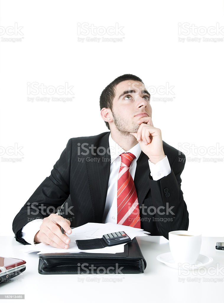 businessman busy and thinking royalty-free stock photo