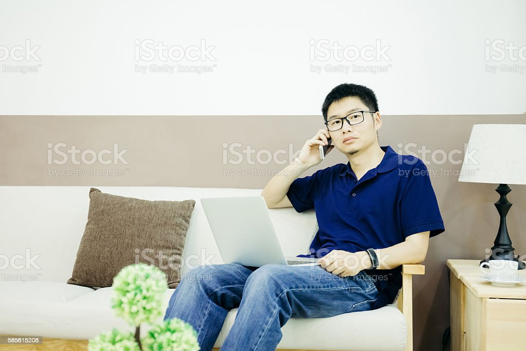 Businessman call indoors stock photo