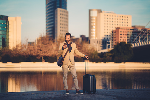 Businessman calling for Uber