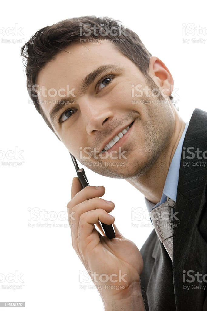 Businessman calling on moblie royalty-free stock photo