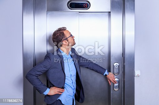 638591126 istock photo Businessman calling the elevator 1178836274