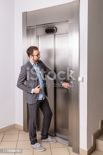 638591126 istock photo Businessman calling the elevator 1179586767