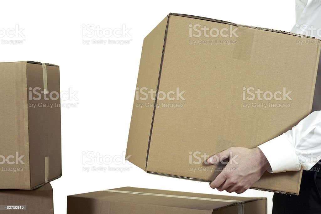 Businessman Carrying A Cardboard Box royalty-free stock photo