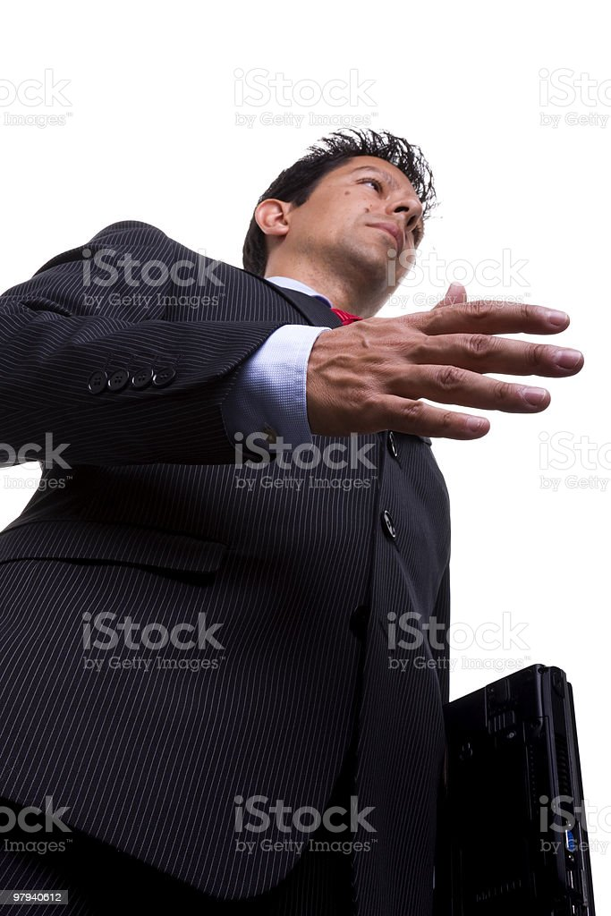businessman carrying a laptop royalty-free stock photo