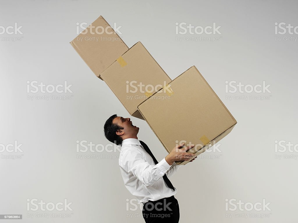 Businessman Carrying Cardboard Box royalty-free stock photo