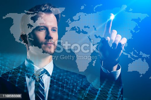 businessman caucasian investor hand point virtual world map creativity business globalize ideas concept