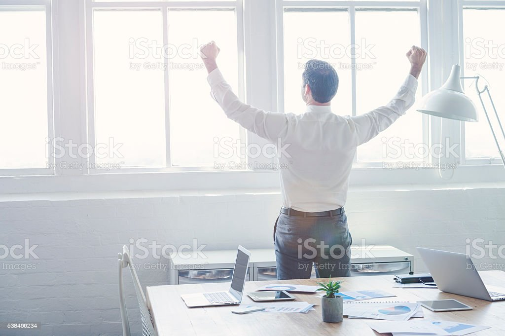 Businessman celebrating after a meeting. stock photo
