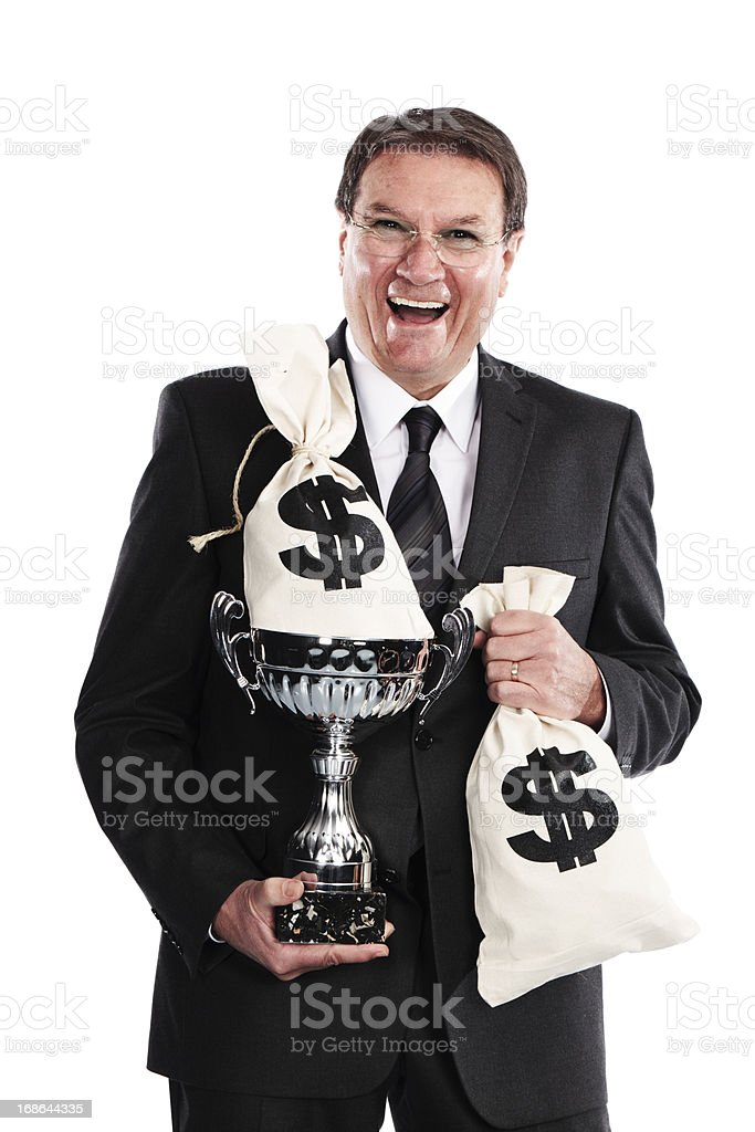 businessman celebrating profits royalty-free stock photo