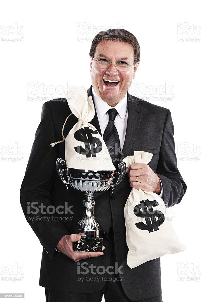 businessman celebrating profits stock photo