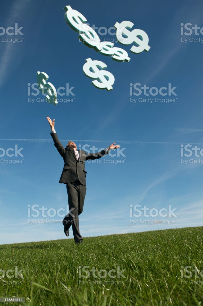 Businessman Chasing Dollars Falling from Blue Sky Green Meadow stock photo