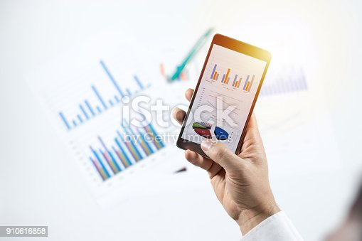istock Businessman check data in smartphone 910616858