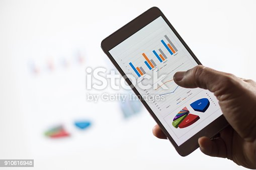 istock Businessman check data in smartphone 910616948
