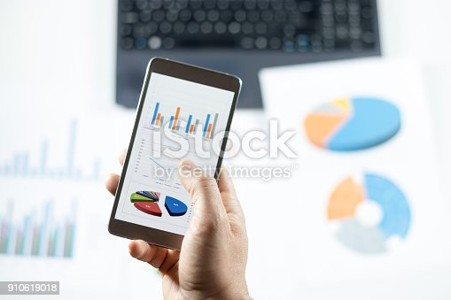 istock Businessman check data in smartphone 910619018