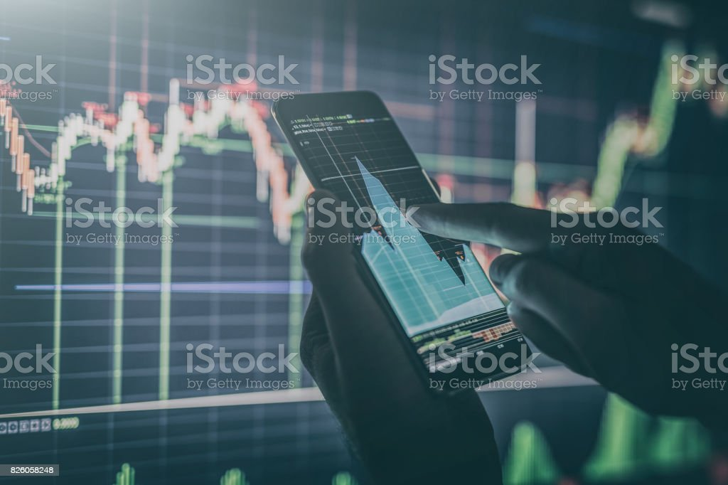 Businessman checking stock market data. stock photo