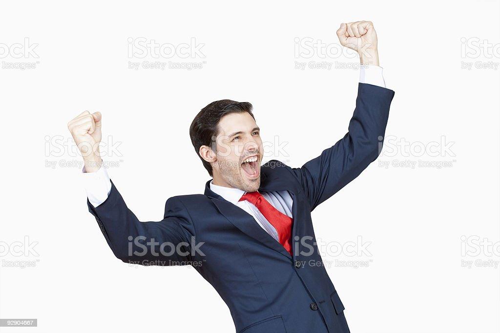 businessman cheering royalty-free stock photo