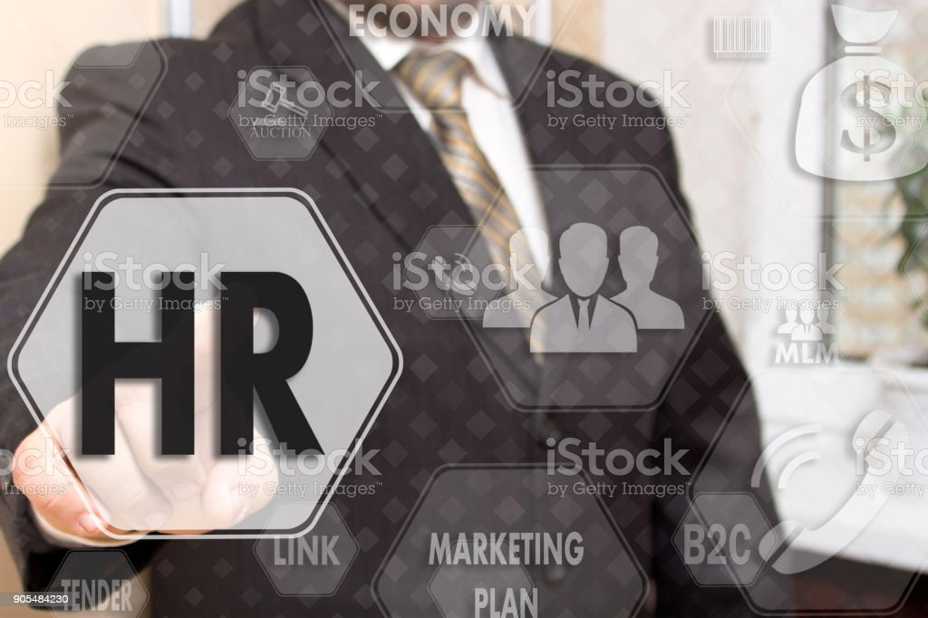 Businessman  choice employee human resource system on the touch screen.Head hunter stock photo