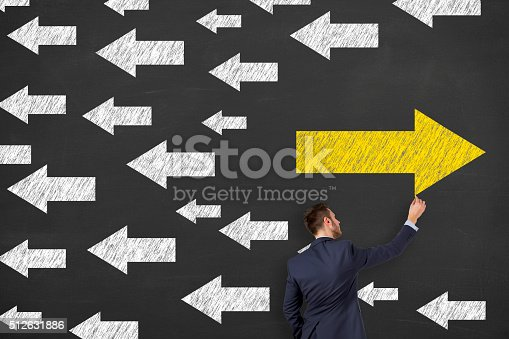 istock Businessman Choice on Chalkboard 512631886