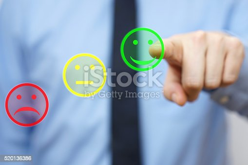 533983044istockphoto businessman choose  positive icon, concept of  satisfied customer 520136386