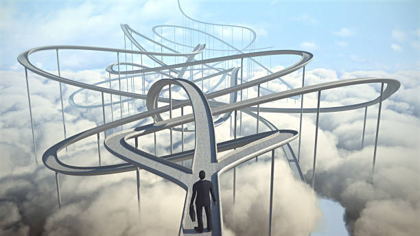 Businessman chooses the path strategy businessman chooses the path strategy 3d illustration decisions stock pictures, royalty-free photos & images