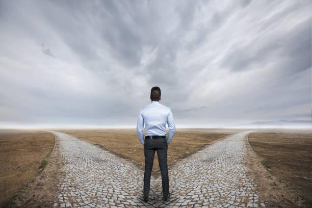 Businessman choosing destination. stock photo