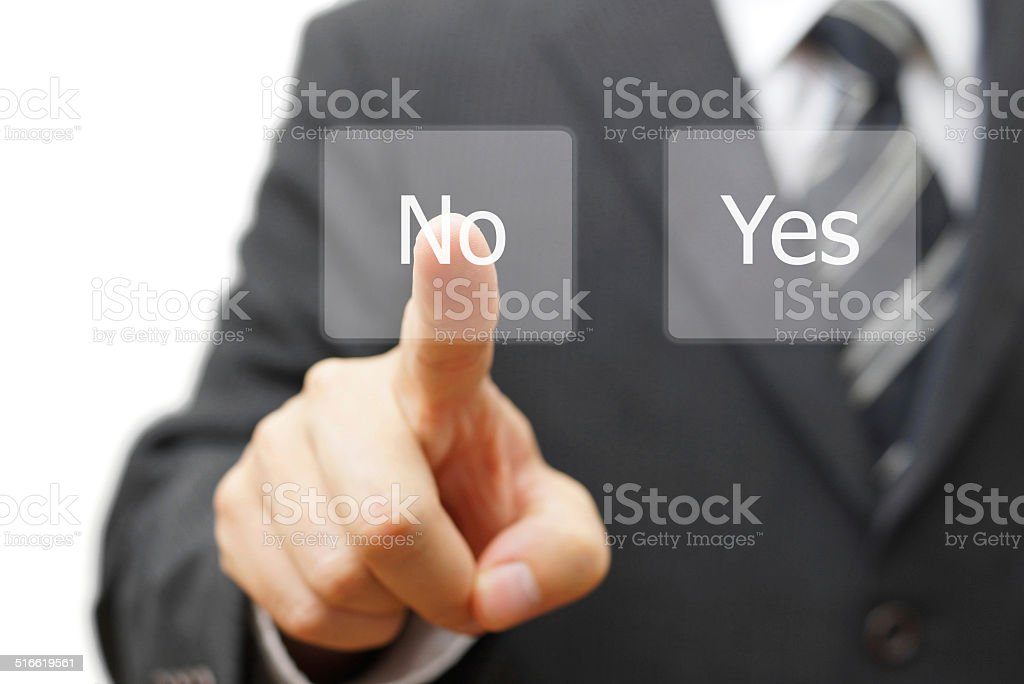 businessman choosing no instead yes button stock photo