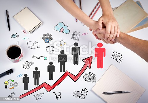 istock Businessman choosing right partner from many candidates. The meeting at the white office table 675533526