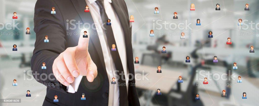 Businessman choosing staff stock photo