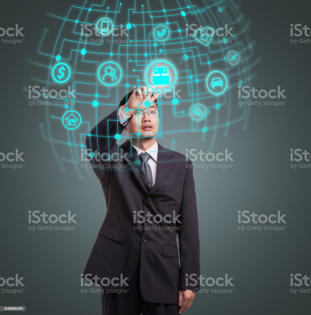 Businessman choosing the fields of artificial intelligence stock photo