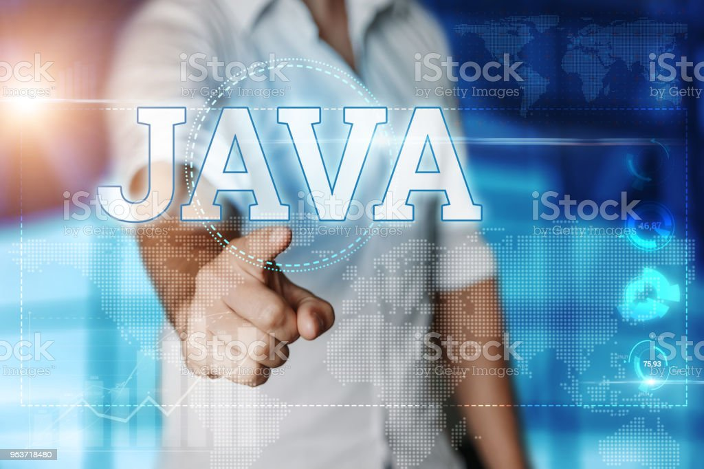 Businessman clicks on a virtual screen and selects 'JAVA'. Blue background. Business concept. Mixed media stock photo