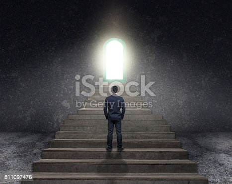 513121118 istock photo Businessman climbed on top of the stairs ,Success business and Ambitions concept 811097476