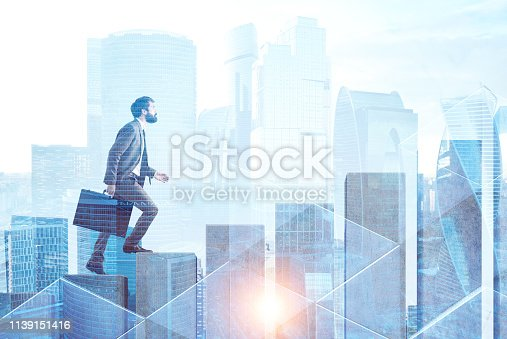 Businessman with suitcase climbing graph in form of stairs over cityscape background. Concept of career ladder and success in business. Toned image double exposure