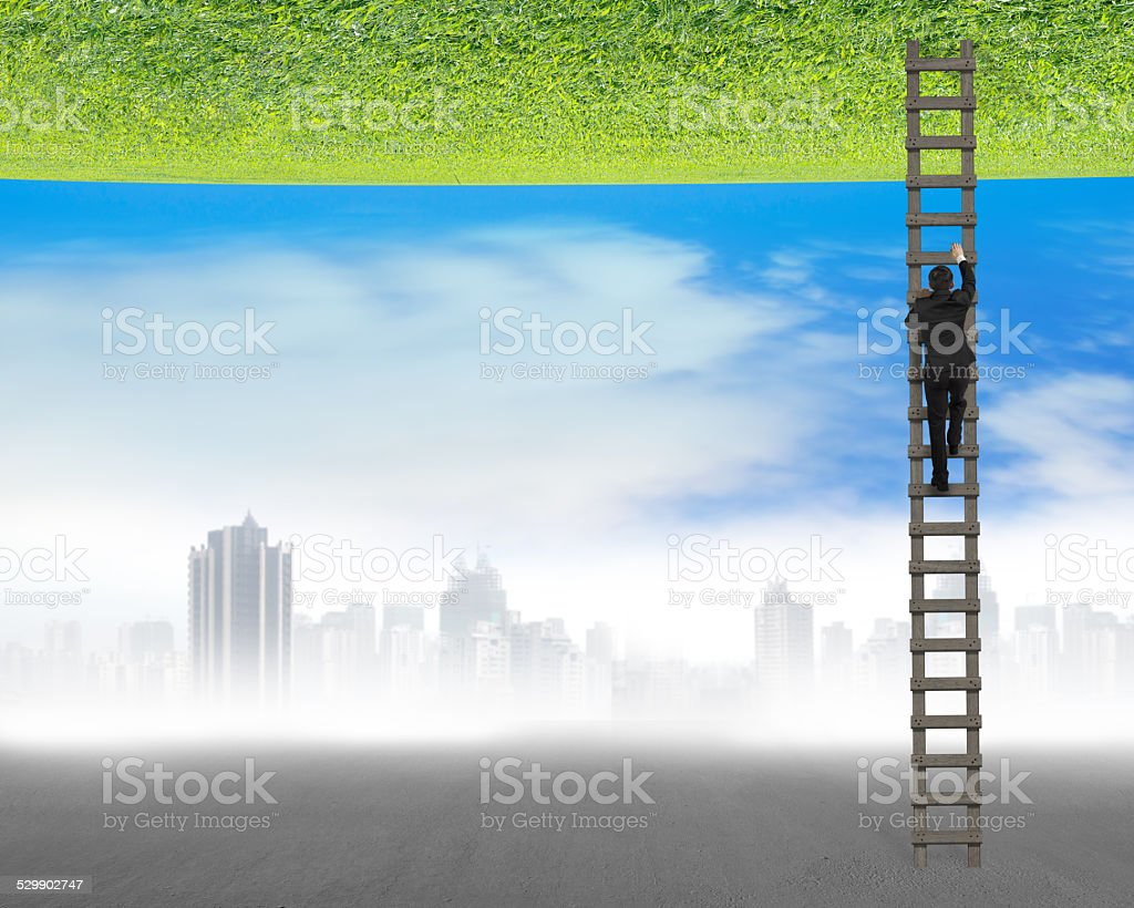 businessman climbing on ladder between two inverted world stock photo