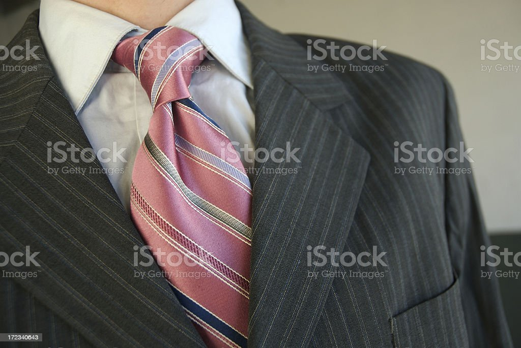 Businessman Close Up Pink Tie Gray Pinstripe Suit royalty-free stock photo