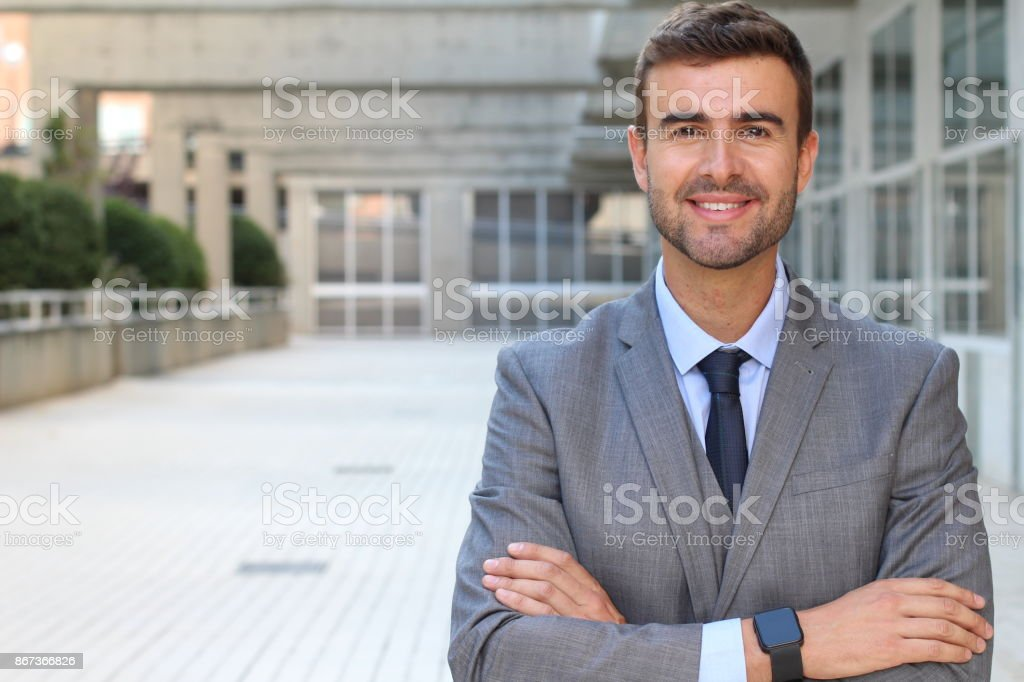Businessman Close-up Shot on Office Space Background stock photo