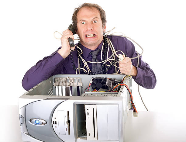 businessman computer problems stock photo