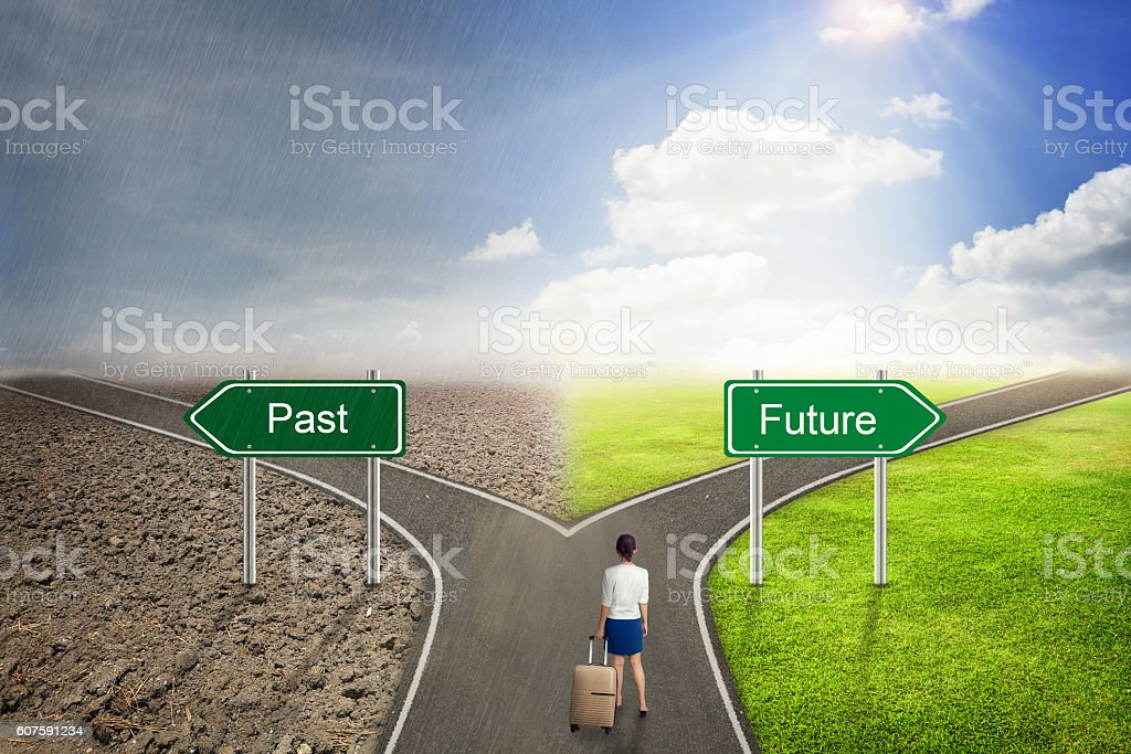 Businessman concept, Past or Future road to the correct way. stock photo