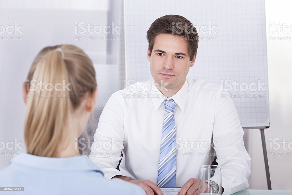 Businessman Conducting Interview stock photo