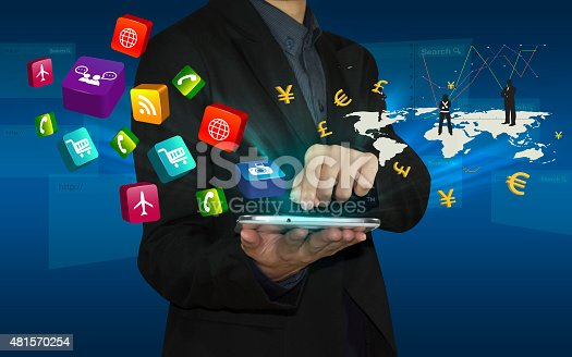 istock Businessman connect by smart phone. 481570254