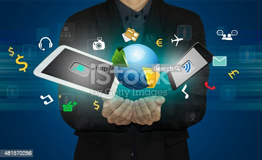 istock businessman connect social media by smart phone. 481570256