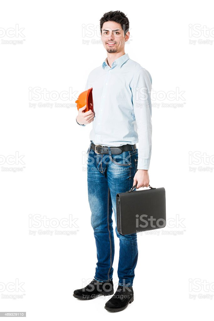 Businessman Construction Worker holding Hard Hat, Briefcase and Smiling stock photo