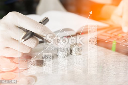 istock Businessman count money coin with calculator business graphs and charts report on tabble, calculator on desk of financial planing. Financial concepts. 822172996