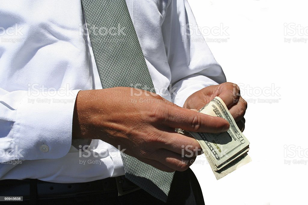 Businessman Counting Money, Sales? royalty-free stock photo