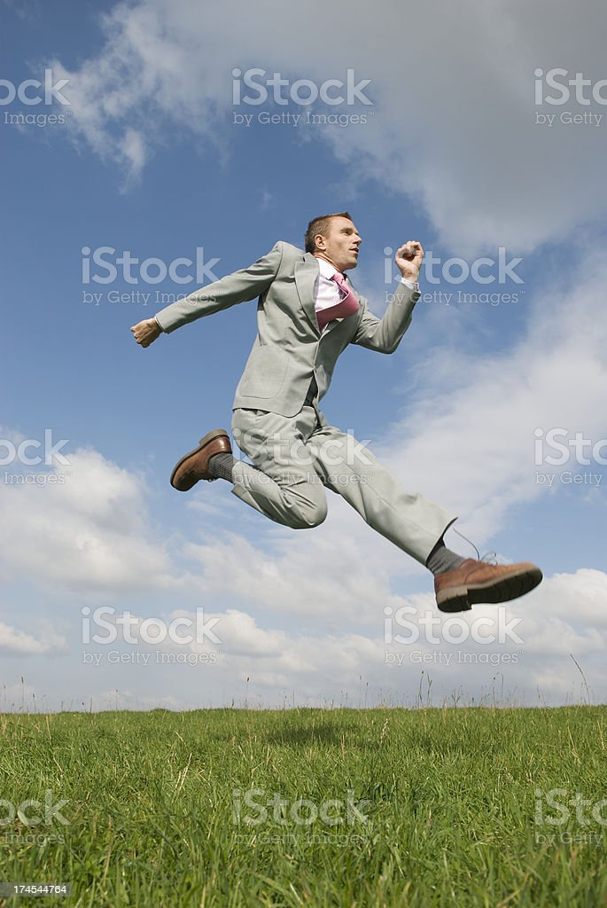 Businessman Countryside Leap royalty-free stock photo