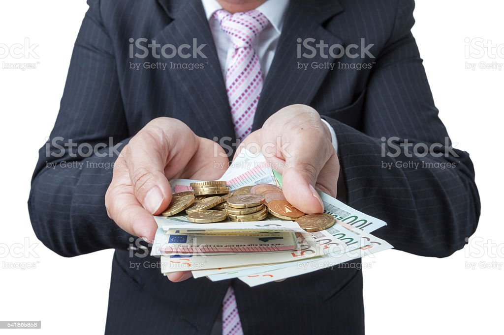 Businessman cover growing money. stock photo