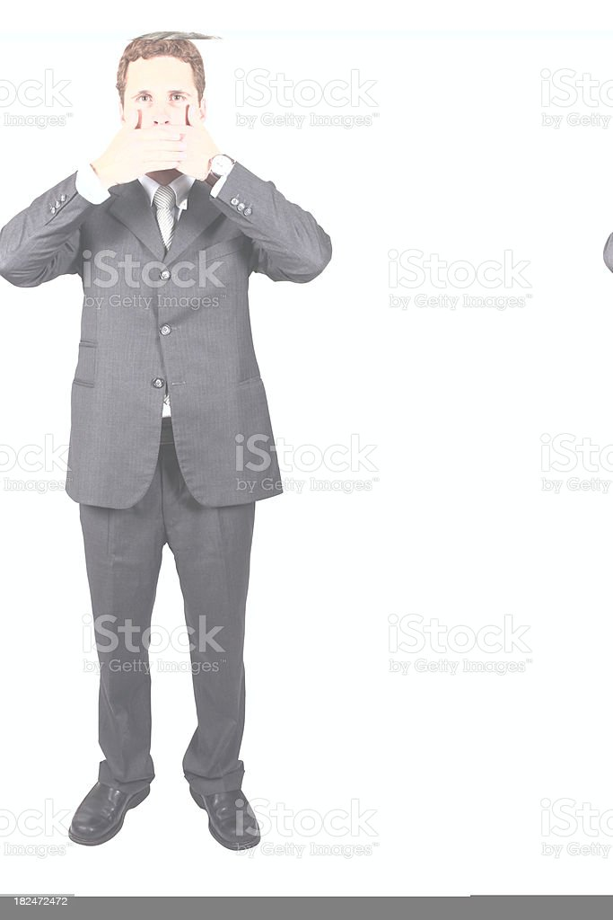 Businessman covering his mouth royalty-free stock photo