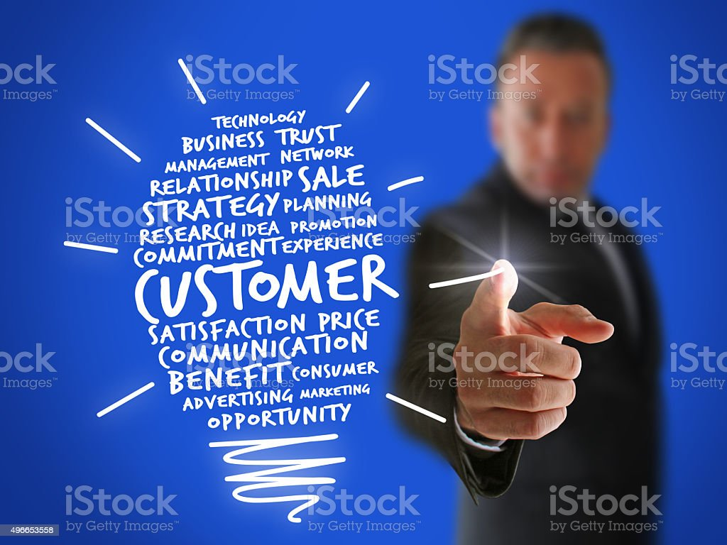 Businessman creating a New Customer Idea stock photo