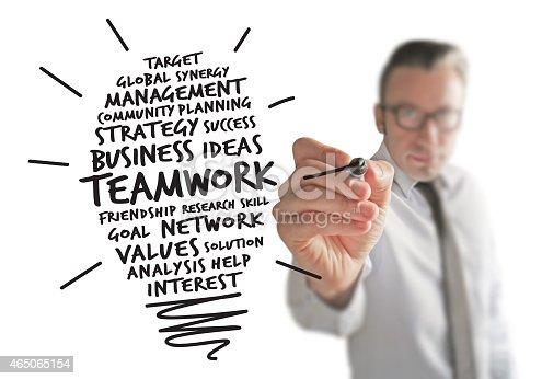 844638658 istock photo Businessman creating a Teamwork Idea 465065154
