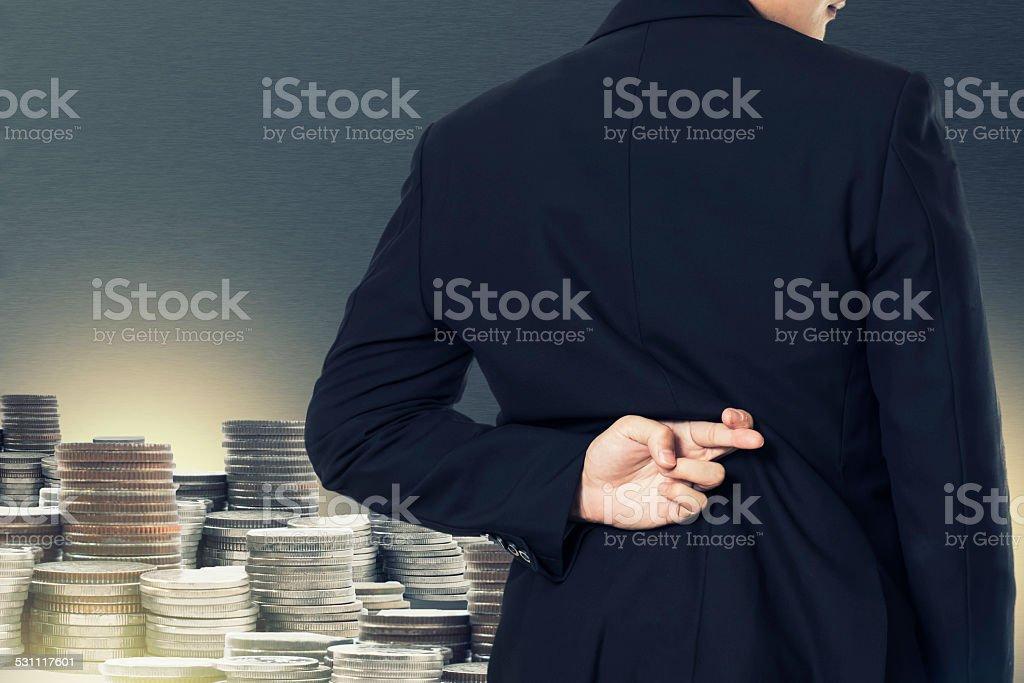 Businessman cross finger .concept stock photo