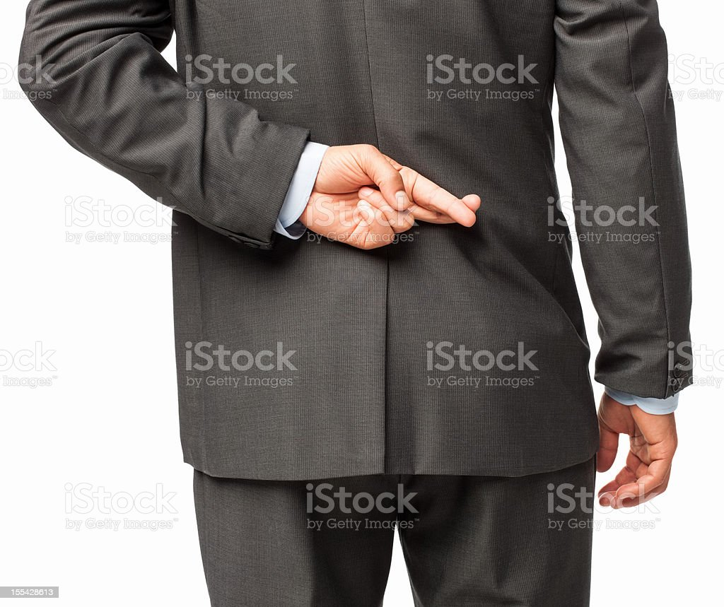Businessman Crossing Fingers Behind His Back - Isolated royalty-free stock photo