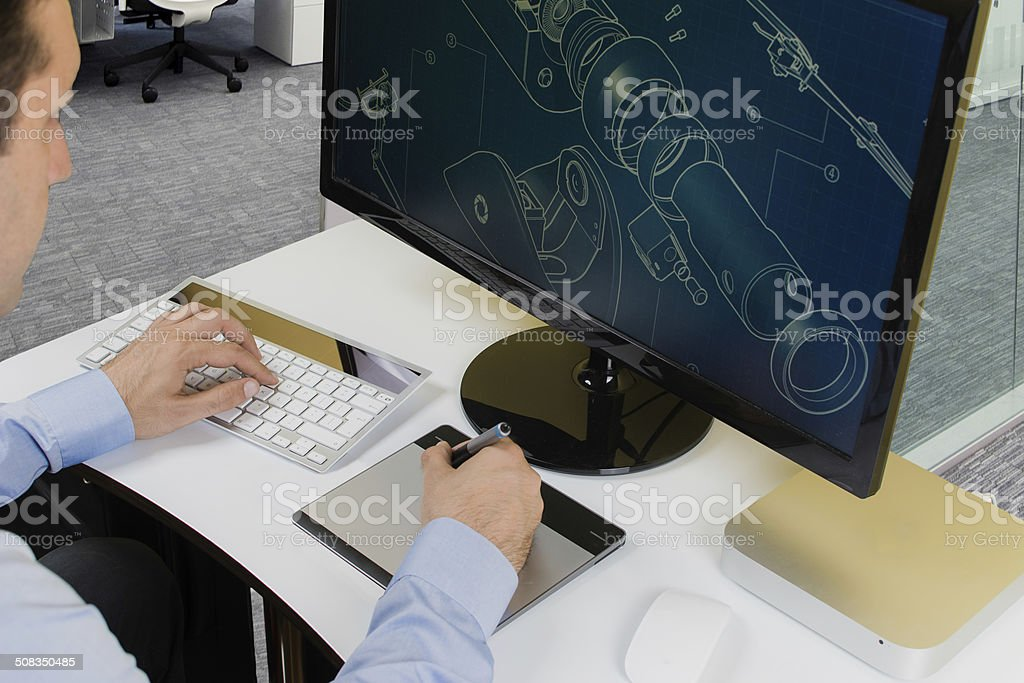 Businessman designing a project stock photo